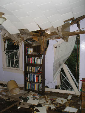 Tree felled by Hurricane Gustav punched out the window and ceiling