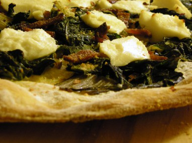 Chard and ricotta cornmeal-crust pizza