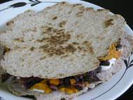 Leftover sweet potato, black bean, and chard quesadillas (with homemade wheat tortillas)