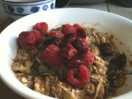 Cold oats like yesterday but also with cranberries and a little coconut oil