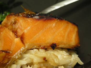 Sake ginger-glazed salmon