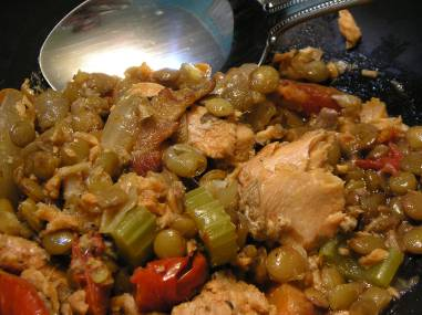 Salmon with lentils and bacon
